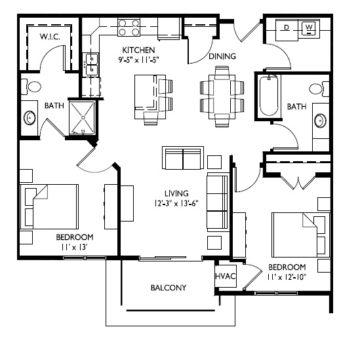 40-E  Two Bedroom